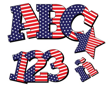 "Glory Be!!! Patriotic Alphabet /  98 pcs - 3.5"" High, Vector PDF and PNGs"