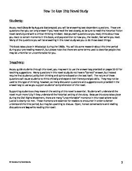 Glory Be by Augusta Scattergood Novel Study / Answer Key