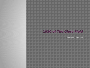 Glory Field 1930 Discussion Questions