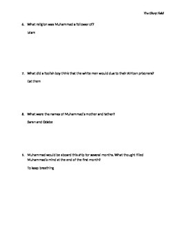 Glory Field Reading Questions 1753 with Answer Key