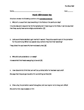 Glory Field Reading Questions 1864 with Answer Key