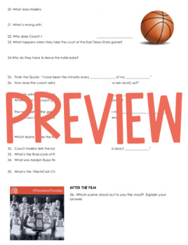 Glory Road Movie Guide (African American History/Black History Month)