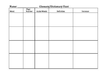 Glossary Dictionary Hunt