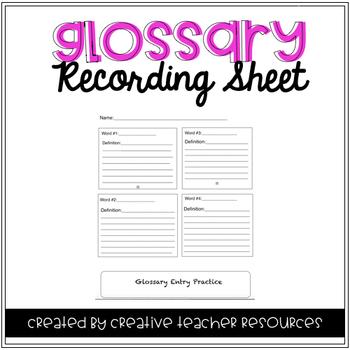 Glossary Recording Sheet