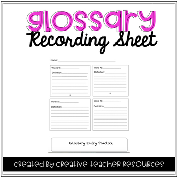 Glossary Recording Sheet