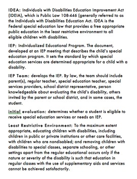 Glossary of Common Special Education Terms (editable)