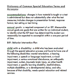 Glossary of Common Special Education Terms {editable}