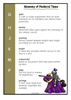 Glossary of Medieval Times