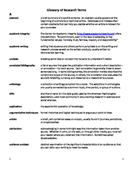 Glossary of Research Terms