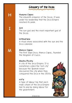 Glossary of the Incas