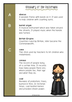 Glossary of the Victorians