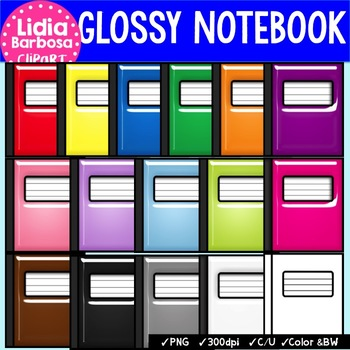 Glossy Composition Notebooks {Clip Art for Teachers}