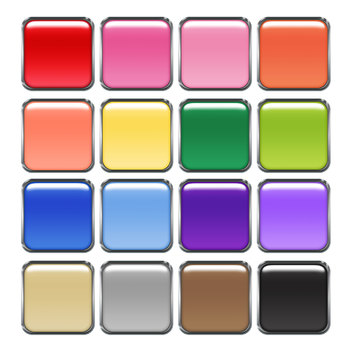 Glossy Square Buttons Digital Clip Art PNG files