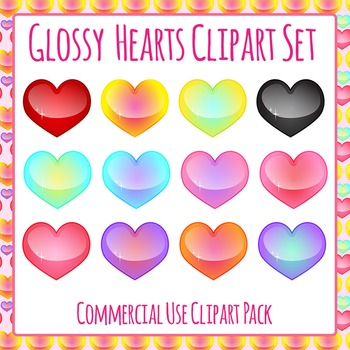 Glossy Valentines Day Hearts in Ombre Colors Clip Art Pack for Commercial Use