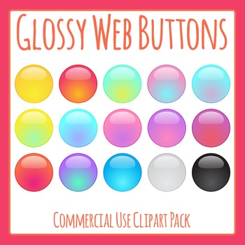 Glossy Web Buttons Clip Art Set for Commercial Use