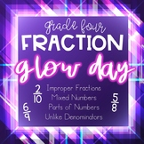 Glow Day Fraction Review Games/Activities & Task Cards wit