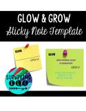 Glow & Grow Feedback   Sticky Note Template