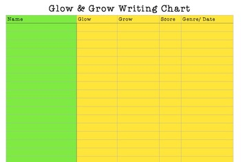 Glow & Grow Writing Chart