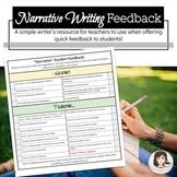 Glow & Grow Writing Feedback *Narrative*