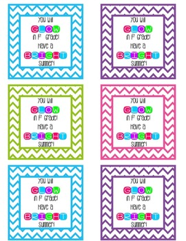 Glow Stick Summer Gift Tags