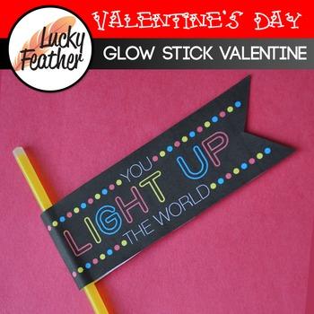 Glow Stick Valentine's Day Tags