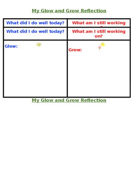 Glow and Grow Reflection Recording Sheet