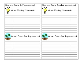 Glow and Grow sheet for Self and Teacher Reflection