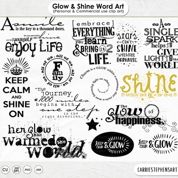 Glow and Shine Word Art, Positive Wordart Quote ClipArt, Beautiful, Enjoy