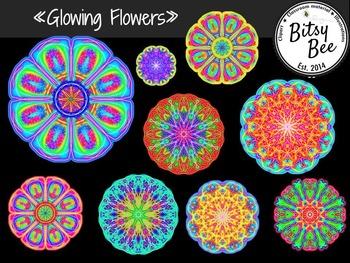 Glowing Flowers Clip Art