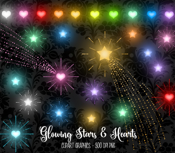 Glowing Stars and Hearts Clipart, gold shooting stars, Valentine clip art