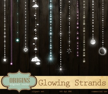 Glowing Strands, Stars, Wedding, Party Lights Clipart