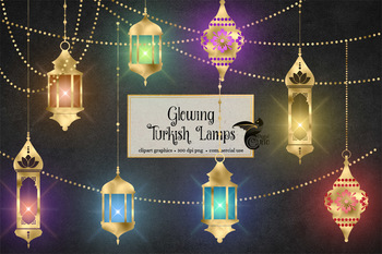 Glowing Turkish Lamps Clipart, Marrakesh Moroccan and boho gold lanterns
