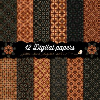Glowing in the Dark - 12 Digital Papers in Orange, Brown and Black