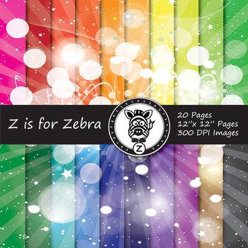 Glowing starburst digital paper pack 2 - Commercial use OK