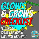 Glows & Grows Checklist - Paragraph Feedback
