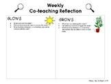 Glows & Grows Weekly Co-Teaching Reflection Sheet