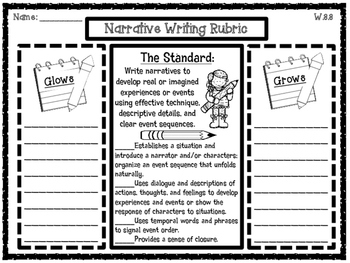 Glows and Grows 3rd Grade Common Core Writing Rubrics