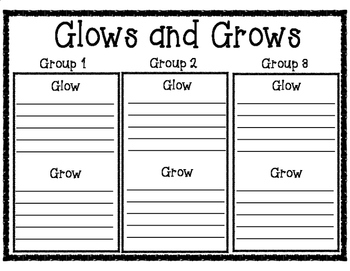 Glows and Grows Group Work Student to Student Feedback Recording Form