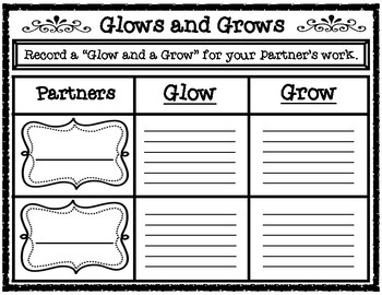 Glows and Grows Student to Student Feedback Recording Form