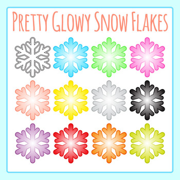 Glowy Snowflakes Clip Art Set for Commercial Use