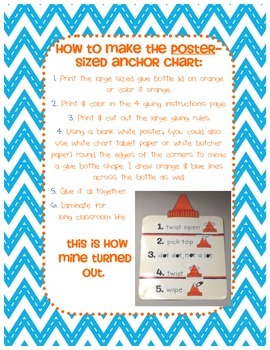 Glue Bottle Anchor Chart WITH Companion Student-Sized Anchor Chart