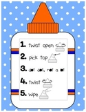 Glue Bottle Anchor Chart WITH Companion Student-Sized Anch