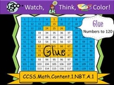 Glue Hundreds Chart to 120 - Watch, Think, Color Mystery Pictures