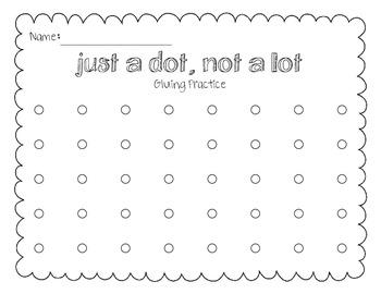 Glue Practice Freebie ~ Just a dot, not a lot