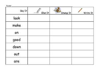 Glue, Stamp, Write Sight Word D