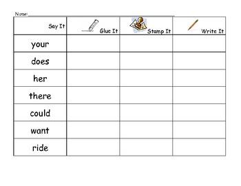 Glue, Stamp, Write Sight Word E