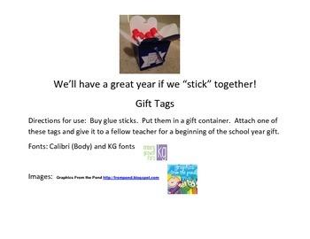 """Glue Stick Teacher Gift Let's """"Stick"""" Together!"""