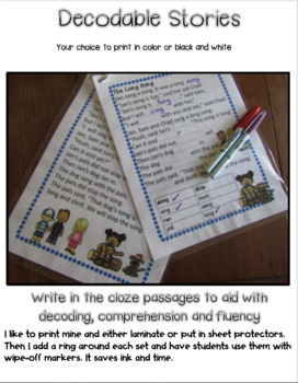 Decodable Stories Ending Blends (Glued Unit Sounds)-ng -nk Activity Bundle
