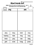 Glued Sounds AM, AN, ING, UNG, INK, UNK, ANG, ANK, ONG & ONK Sort Worksheet PACK