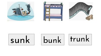 Glued Sounds / Fun Phonics with unk, onk, ink, ank, ung, ong, ing and ang